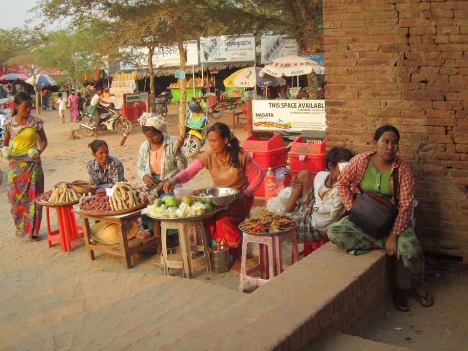 Local market stalls in the temples of Bagan