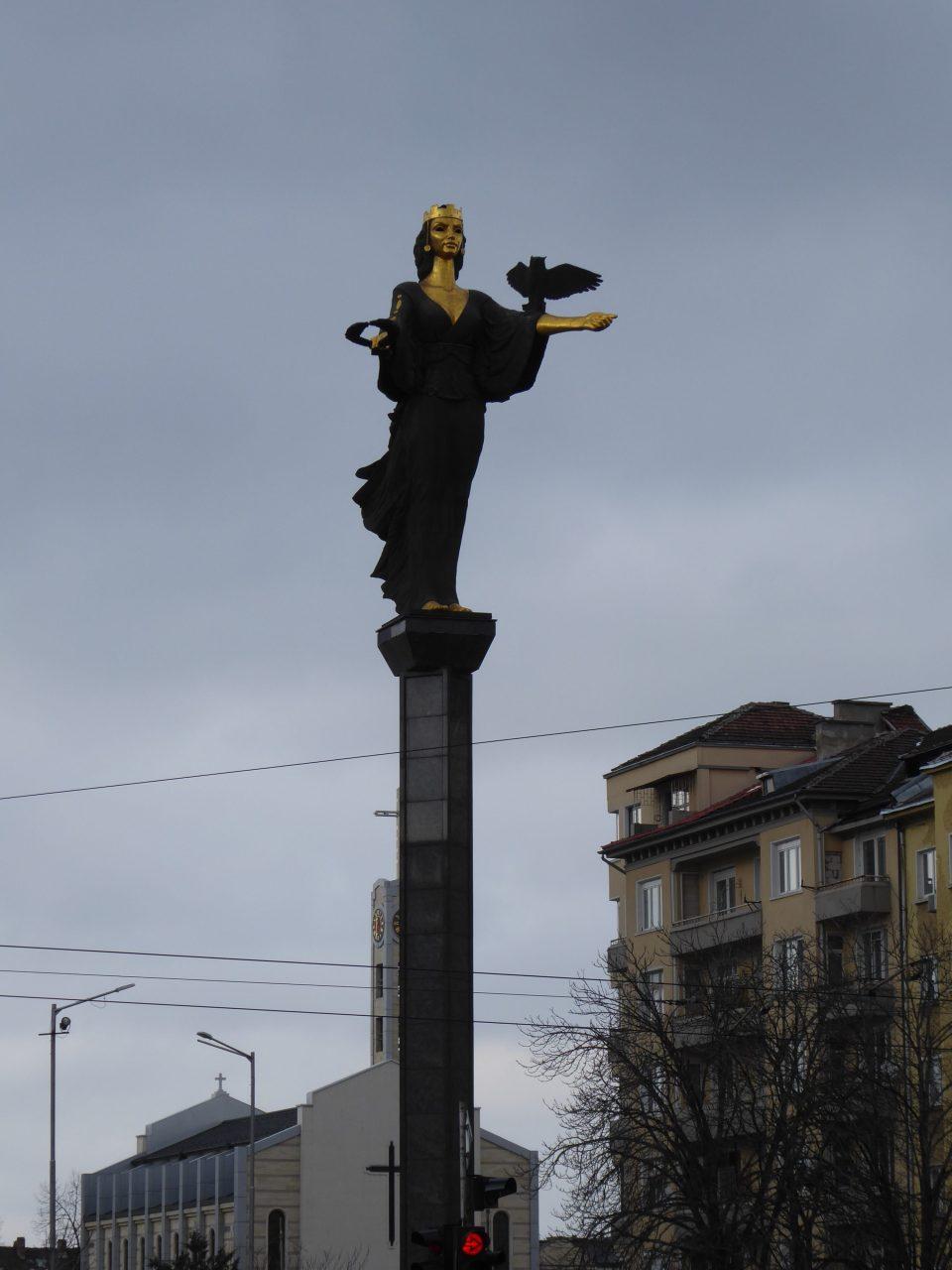 View of the Saint Sofia statue, Sofia