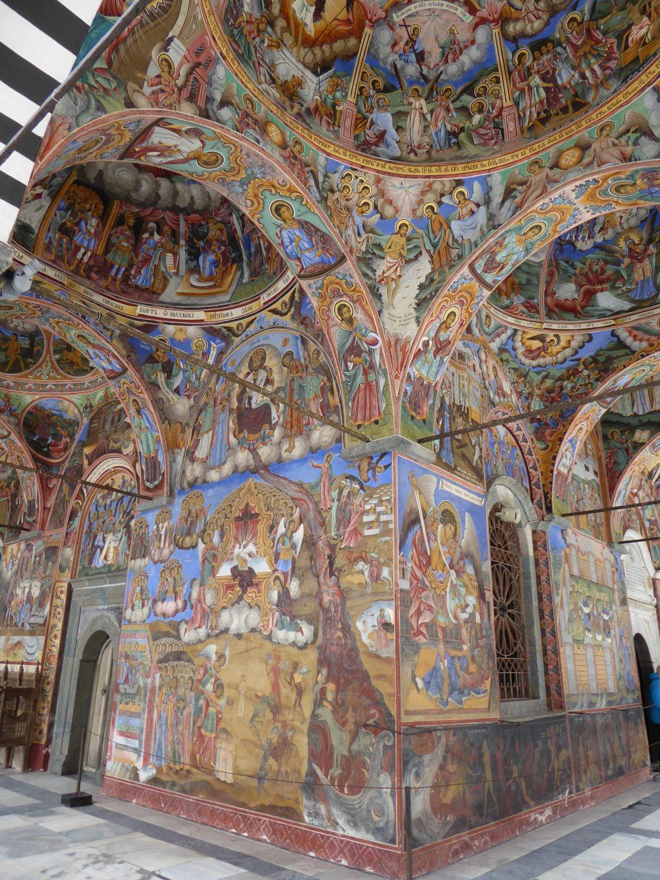 Eastern Orthodox art in Rila Monastery. hours form Sofia, Bulgaria