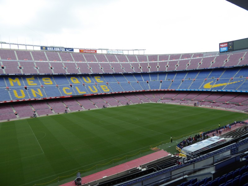 Things to do in Barcelona - view inside Camp Nou of the pitch and stands