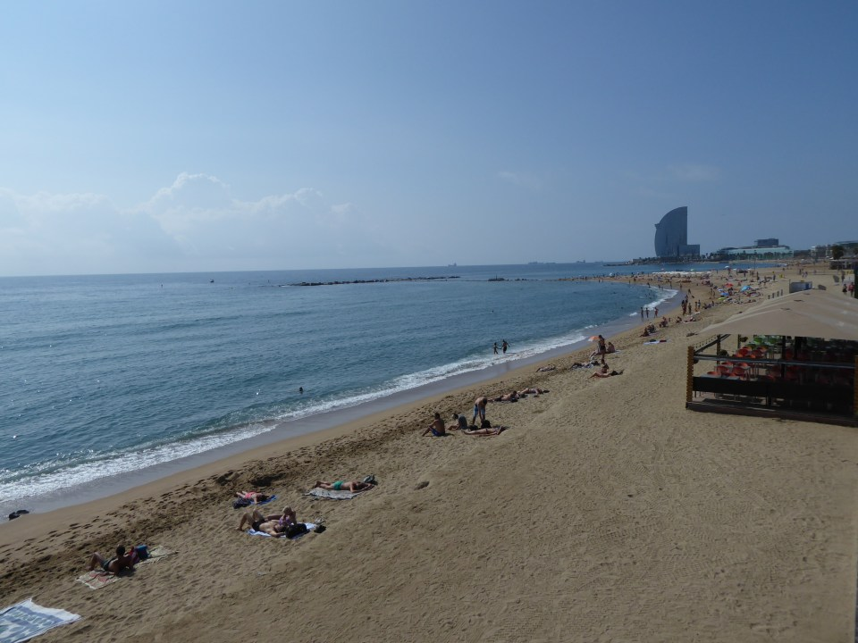Things to do in Barcelona - view of Barceloneta Beach and the sea