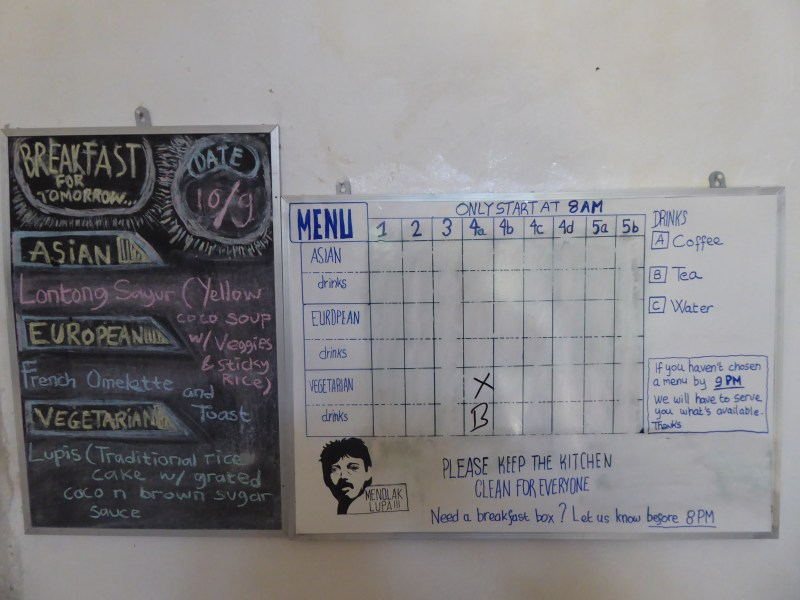 Yogyakarta Travel Guide - The Breakfast board in Snooze Guesthouse where you choose your options