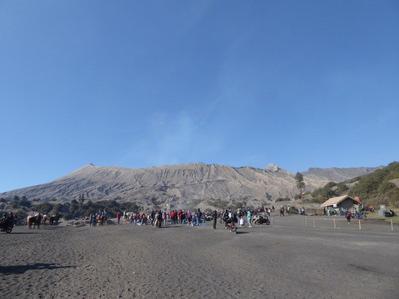 mount Bromo Travel Guide - pic of Bromo from the ground across the Sea of Sand