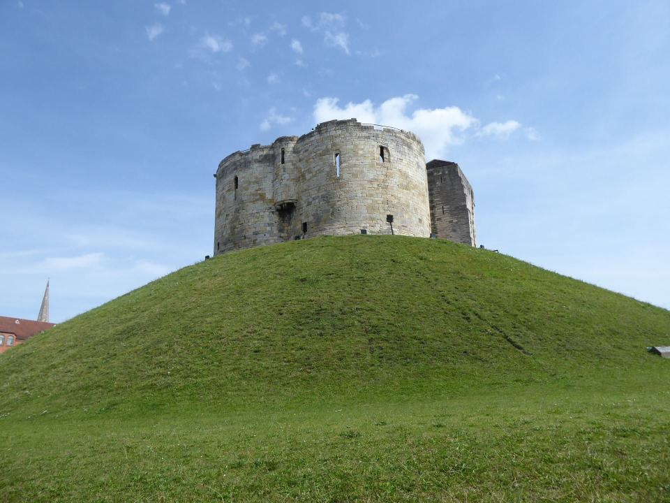 Looking up at Clifford's Tower form the bottom of the grassy mound it sits on