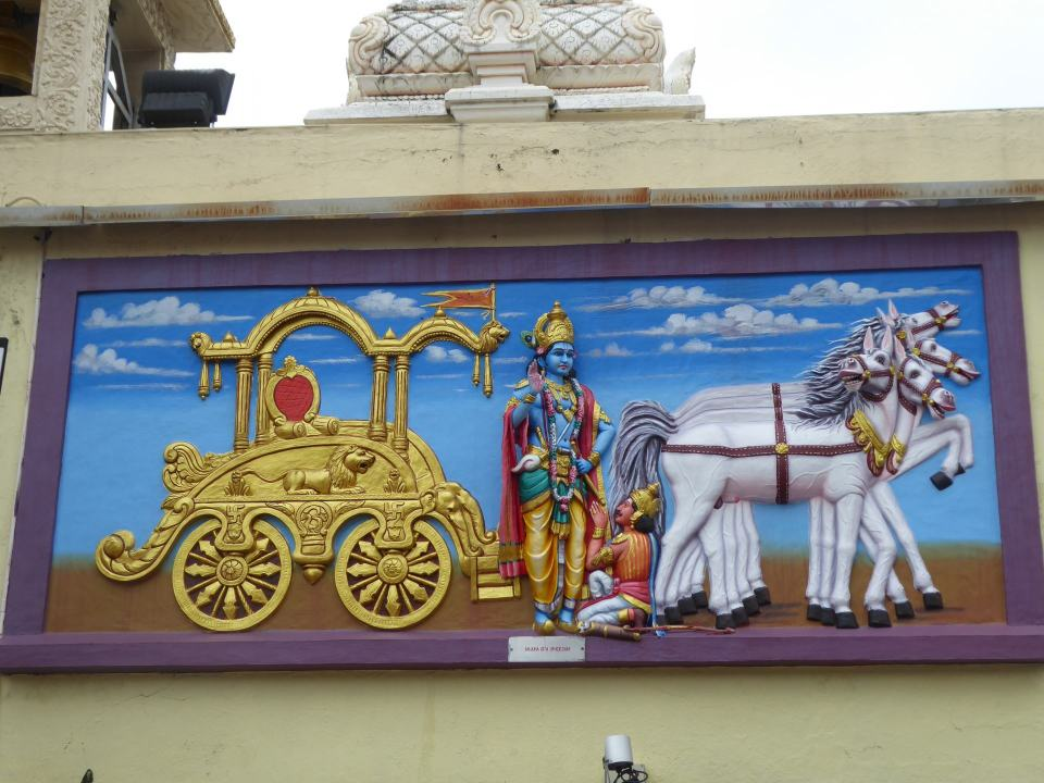 Artwork on the outside of the Raja Maha Mariamman Temple in Johor Bahru