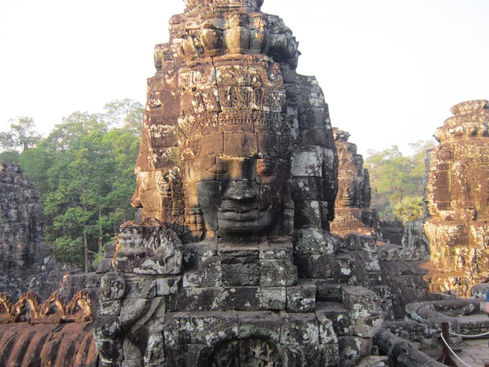 Showing one of the faces of the Bayon temple in Angkor Wat. A real highlight on this list of amazing Southeast Asian temple.
