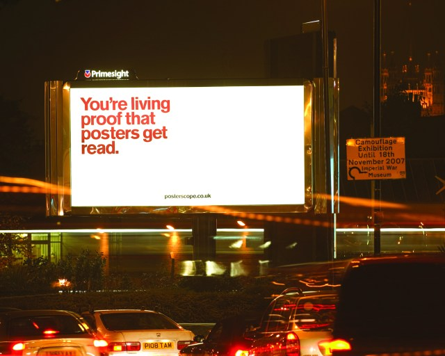 'You're living proof' Posterscope, Dave Dye, DHM