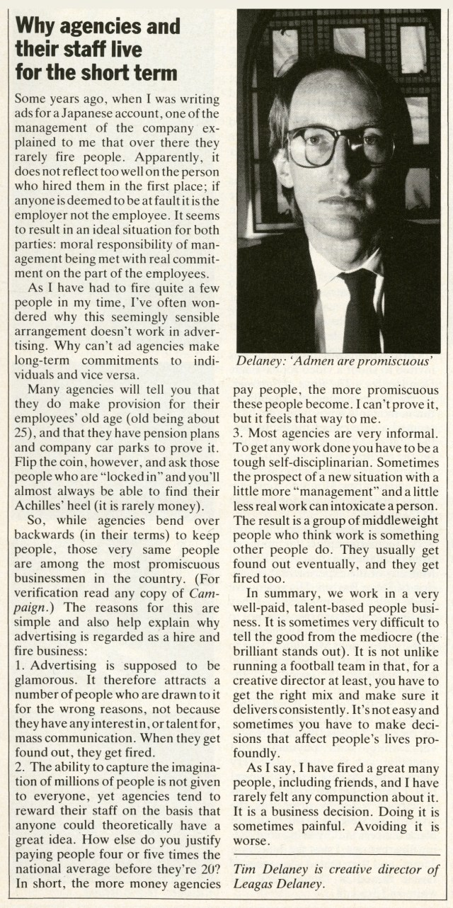 Tim Delaney Article 'Direction', Early 80's-01