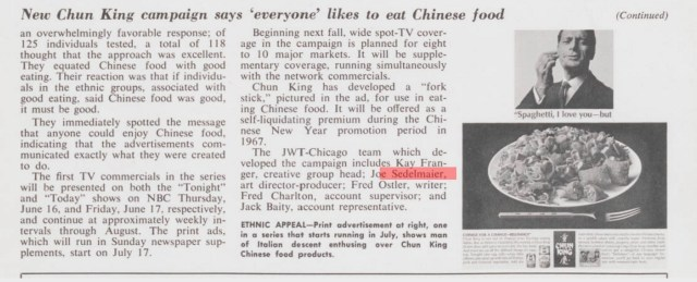 Joe Sedelmeier 'Chun King',