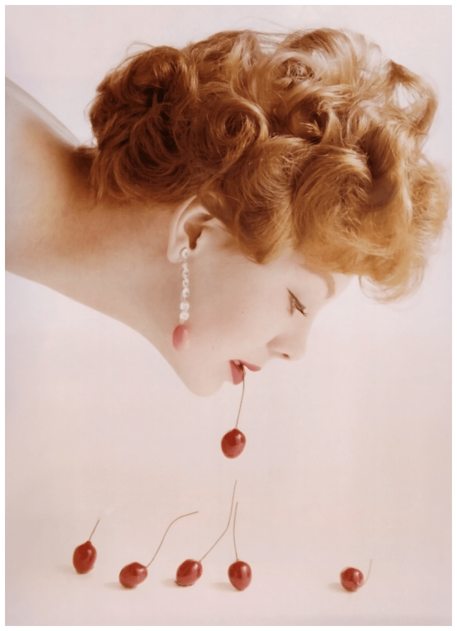 Guy Bourdin 'Cherry Girl' Vogue Lugli, 1958.png