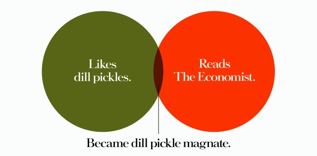 'Likes Dill Pickles' The Economist, Dave Dye, Venn, 48 sheet, AMV-BBDO
