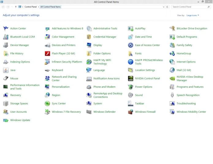 A snapshot of Windows Control Panel in Windows 8.