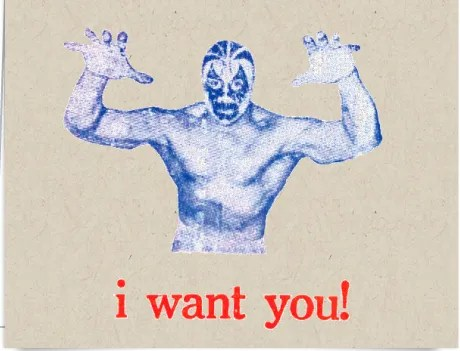 I Want You Luchador by Viva Greetings