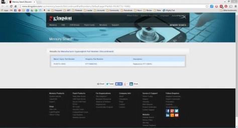 Screenshot of Kingston Memory Page
