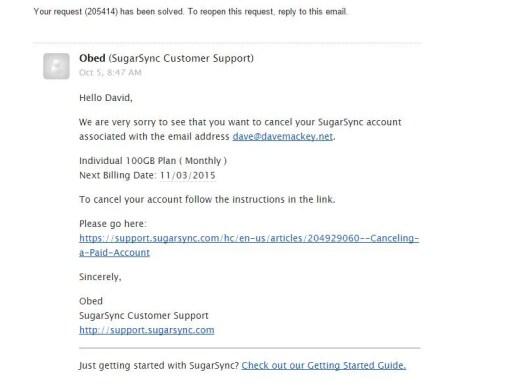 Screenshot of SugarSync Support Email