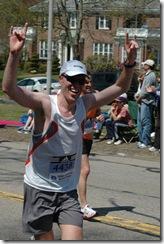 Reaching the top of Heartbreak Hill in the Boston Marathon