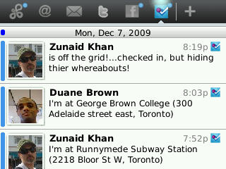 Foursquare friend updates on SocialScope