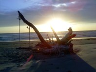 Sunset behind the swing.