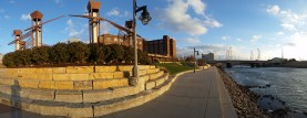 Wichita's Riverwalk is impressive. Many miles of paved path along both sides of the river.