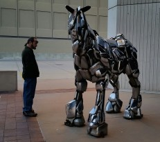 Big horse made out of car bumpers in the 1970's.