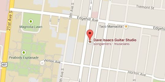 Map of Dave Isaacs Guitar Studio