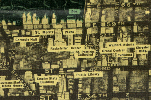 Panoramic Map of New York City, midtown section