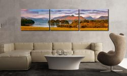Derwent Water and Catbells in Morning Light - 3 Panel Canvas on Wall