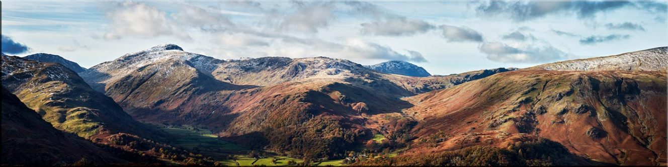 Borrowdale Mountains Panorama - Canvas Prints
