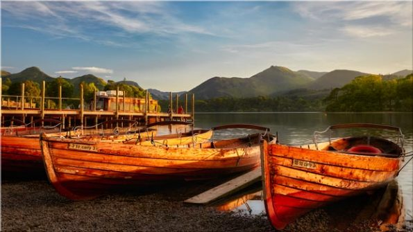 Golden Boats Keswick - Canvas Print