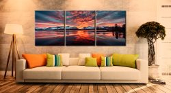 Red Skies Over Derwent Water  - 3 Panel Canvas on Wall