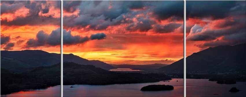 Blazing Skies Over Derwent Water - Canvas Prints