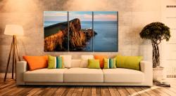 Golden Cliffs Neist Point Lighthouse - 3 Panel Canvas on Wall