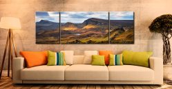 Cleat and Dun Dubh Quiraing - 3 Panel Wide Centre Canvas on Wall