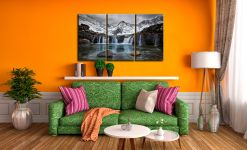 Snow at the Fairy Pools Waterfalls - 3 Panel Canvas on Wall