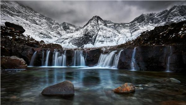 Snow at the Fairy Pools Waterfalls - Canvas Print