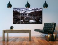 Fairy Pools Rocks Mountains Snow - 3 Panel Canvas on Wall