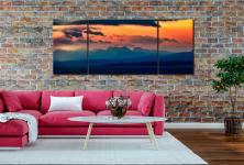 Dawn Over Mountains of Wester Ross - 3 Panel Wide Centre Canvas on Wall