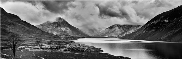 Dark Skies Over Wast Water Black White - Canvas Prints Print