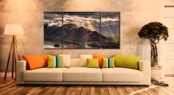 Sunshine and Showers on Cat Bells - 3 Panel Wide Centre Canvas on Wall