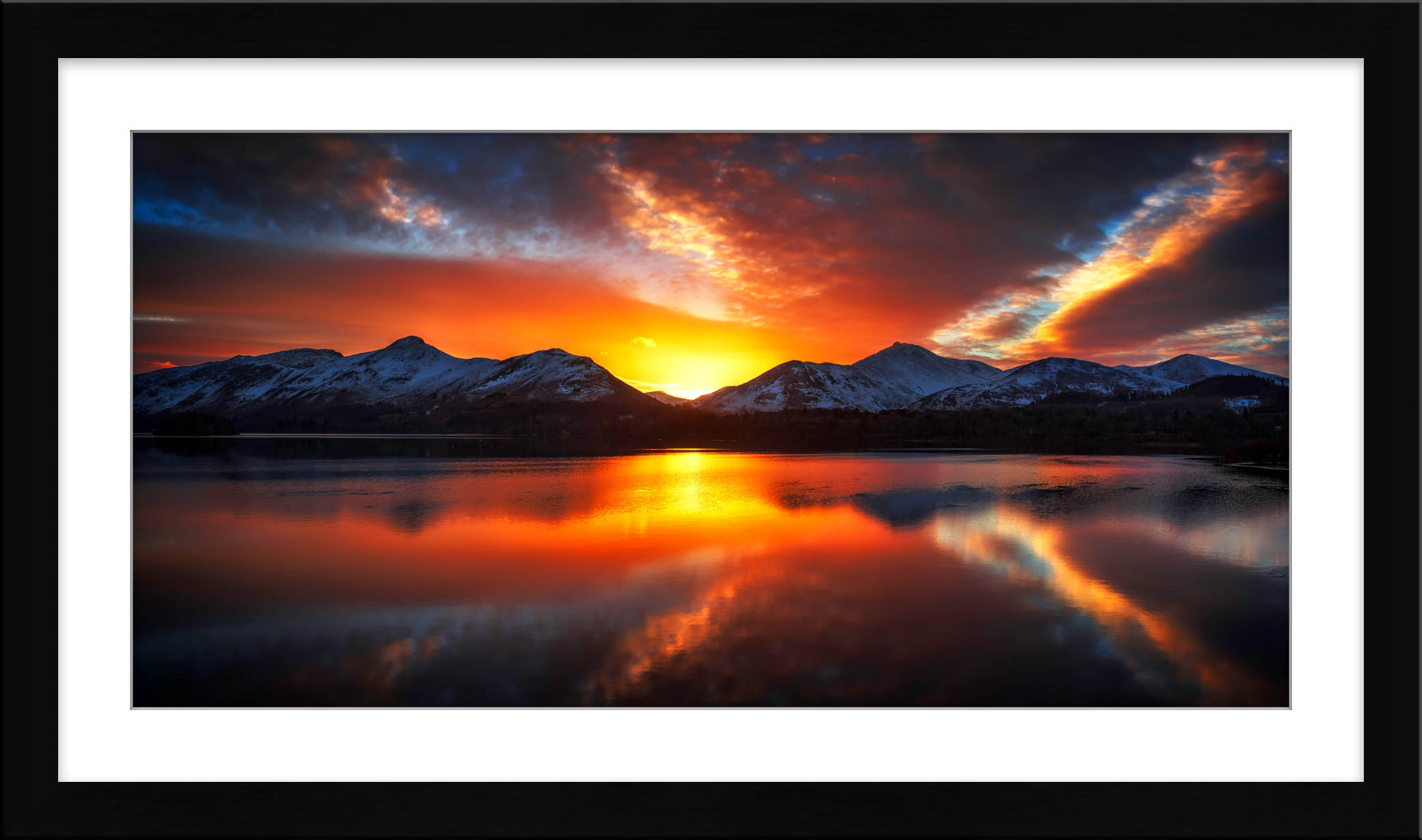 Winter Sunset Over Derwent Water - Framed Print with Mount