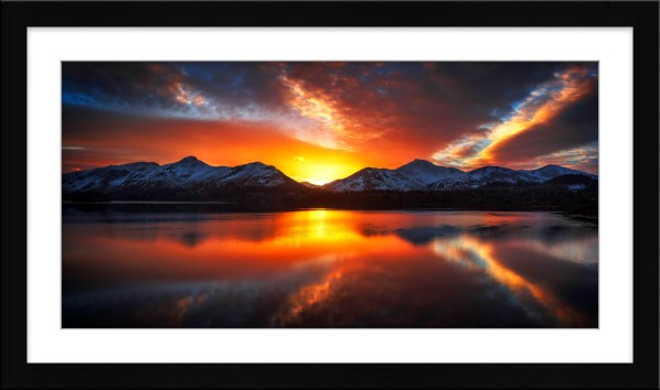 Winter Sunset Over Derwent Water - Framed Print