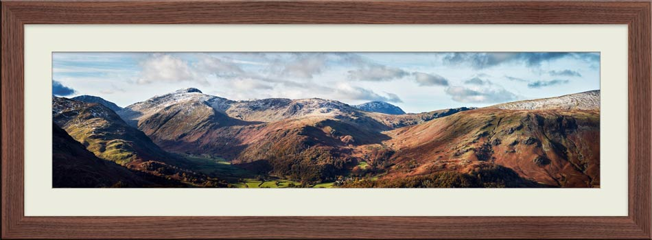 Borrowdale Mountains Panorama - Framed Print