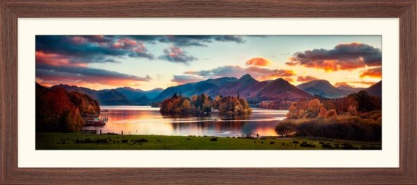 Derwent Water at Dusk - Framed Print with Mount