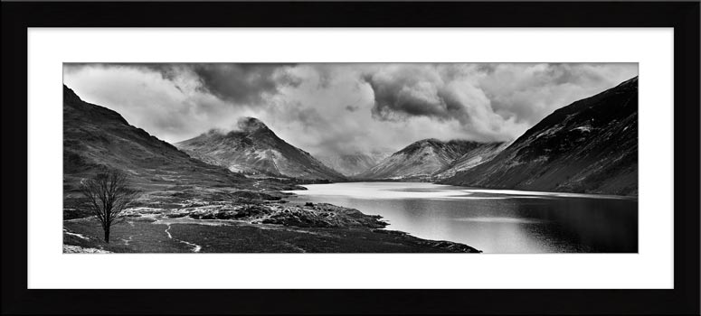 Dark Skies Over Wast Water Black White - Framed Print with Mount
