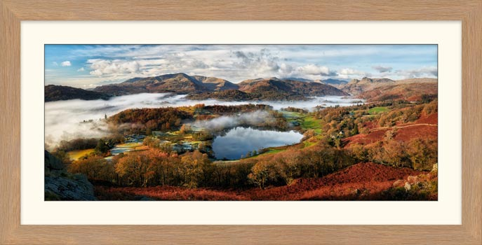 Loughrigg Tarn and Langdale Panorama - Framed Print