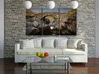 Grey Day Stockley Bridge - 3 Panel Canvas on Wall