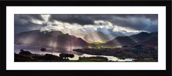 Sunbeams Over the Derwent Fells - Framed Print with Mount