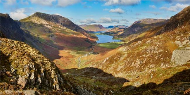 The Buttermere Valley Autumn Sunshine - Canvas Print
