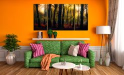 Sherwood Forest Woodland Golden Light - 3 Panel Wide Centre Canvas on Wall