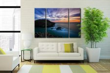 Strumble Head Lighthouse Seascape - A 3 panel wide centre canvas on Wall